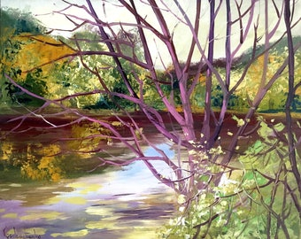 Autumn River Oil Painting On Canvas By Tetiana