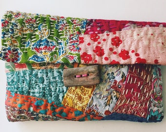 Quilted Kantha handstitched pouch/ bag- wallet, vintage fabrics, cotton, boro, slow stitching, clutch, handbag, wood button