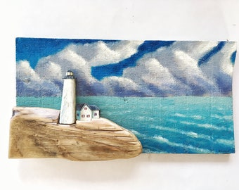 Lighthouse painting, landscape, seascape, ocean decor, wall hanging, 3d painting, seaside