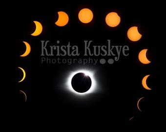 Original photograph collage Total Solar Eclipse 2017 SC 11x14 poster print