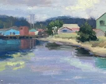 Charleston Marina- Original contemporary painting - Oil Painting