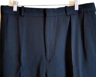 Vintage POLO RALPH LAUREN Black Wool Trousers Double Forward Pleats Size 34x30