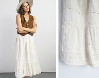 Country Slip Skirt // Small 1960's Off White Slip Summer Skirt // Women's Vintage Clothing