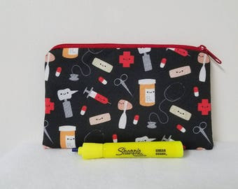 Zipper Pouch, Medical Theme Pencil Case, First Aid Bag, Medical Gadget Pouch, Nurse Pouch, Gift for Nurses, Dr Pencil Bag, Nylon Liner.