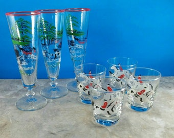 Vintage Barware Horse Racing Bar Glass Set with Jockey and Horses 4 Lowball Glasses and 3 Pilsner Glasses - 7 Piece Set