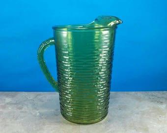 Vintage Anchor Hocking Avocado Green Soreno Glass Pitcher - 1960's Kitchen - Retro Kitchen