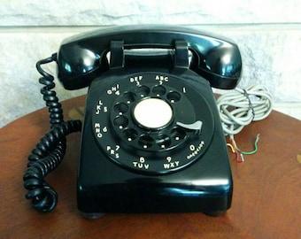 Vintage Black Rotary Dial Phone - Western Electric Retro Black Phone - 1960's Black Handset