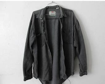ON SALE LARGE Vintage 1990s Levi Strauss Gray Long Sleeve Shirt