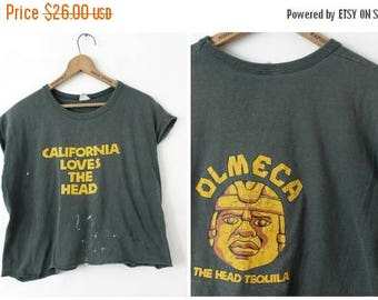 ON SALE LARGE Vintage 1980s California Loves The Head Olmeca The Head Tequila Distressed Crop Top