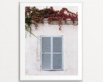 Paris Photography, Blue Shutters, Paris Wall Art, Paris Bedroom Decor, Paris Decor, Home Decor, Autumn in Paris, Paris Print