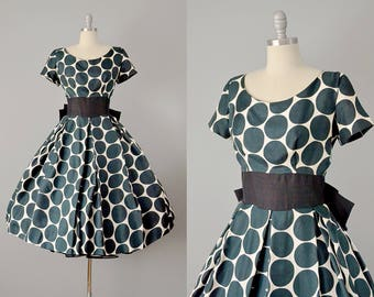 50s Dress // 1950's Black and White Dot Print Silk Dress // Small