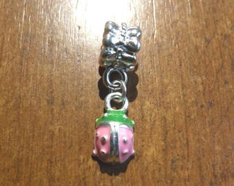 fantasy pendant silver Ladybug pink and green 14 x 8 mm