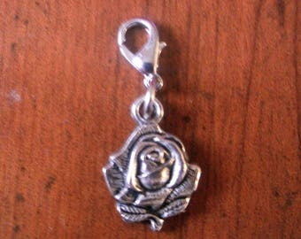 Pink Silver Flower snap charms