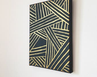 Gold painting | original art | geometric painting | wall decor
