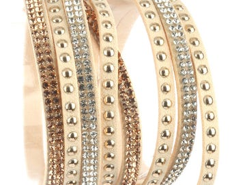 beige tan faux suede leather multi strand wrap stud pave crystal stone bracelet snap closure ~ off white beige
