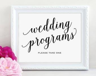 Wedding Program Sign, Please Take a Program, Wedding Program, Wedding Printable, Wedding Sign, Take One, PDF Instant Download, MM01-1