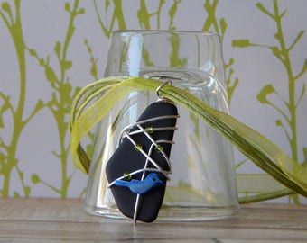 Wire Wrapped Pendant, Black Glass Necklace, Modern Stained Glass Jewelry, Gift for Birthday Retirement, Mom, Wife, Sister