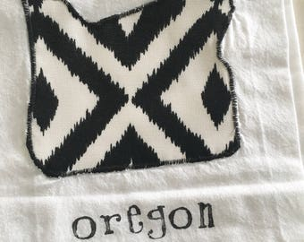 OREGON Tea Towel - Black Modern