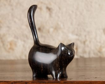 Black Martha Cat Carved From Ebony Wood by Perry Lancaster, Small Wooden Cat Statue Sculpture Wooden Cat Figurine