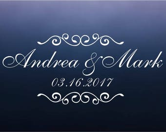 Monogram Wedding Dance Floor Decal - Personalized Wall Decals