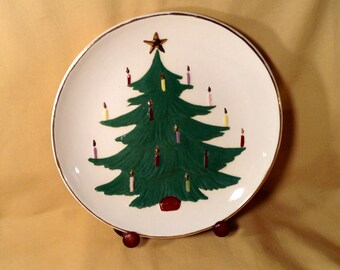 1970s Handmade Handpainted Christmas Plate - Holiday Christmas Evergreen Tree Cookie Tray - Cookie Plate for Santa Claus