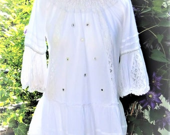 Beach dress tunic 36 38 S M mini dress white cotton Carmen