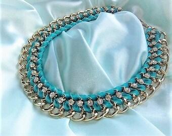 Statement necklace turquoise gold CZ Pendant Necklace