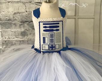 R2D2 tutu, R2D2 costume, R2D2 flower girl dress, Star Wars flower girl dress, R2D2 tutu dress, R2D2 dress, R2D2 halloween costume