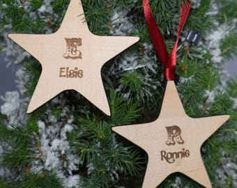 Personalised Engraved Wood Hanging Star Christmas Tree Decoration