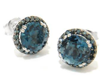 Sterling Silver 5.4ctw London Blue Topaz & Blue DiamondStuds Earrings