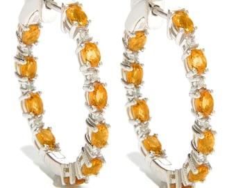 "Sterling Silver 3.21ctw Madiera Citrine & White Zircon Hoop Earrings 1.25""L"
