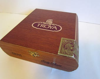Vintage Wooden Troya Cigar Box  Empty Humidor Decorative Keepsake Box Vintage Decor