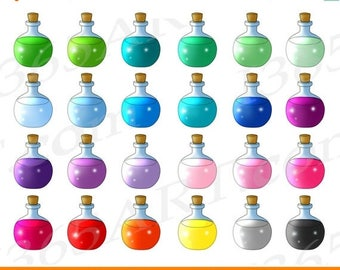 50% OFF Potions Clipart, Potion Bottles Clip Art, Chemistry, Science, Love Potion, Magic Potion, Planner Stickers, PNG Icon, Commercial
