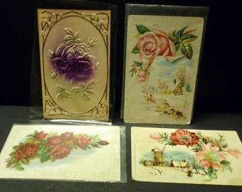 4 Antique Floral Post Cards - 1900's - 2 used- 2 unused