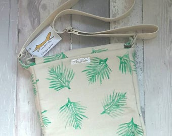 Shoulder bag, organic cotton,handprinted, leaves, palm, green, crossbody bag, natural, botanicals, gardens, handbag