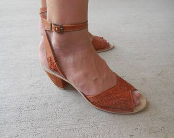 Vintage LEATHER peep toe SANDALS heels woven ankle strap size 6 narrow
