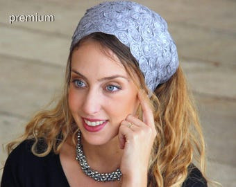 Stunning Argent Headband, Amazing Bandana, Tichel, Hair Snood, Head Scarf, Head Covering, Jewish Headcovering, Scarf, Bandana, Apron