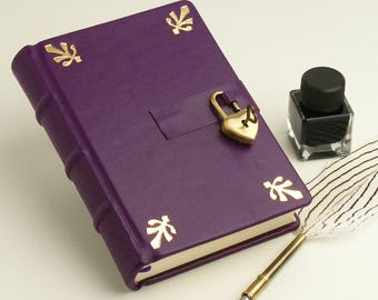 Secret Diary, Leather Memory Book, Dark Purple Journal, Personalized Gift for Her, Romantic Gift, with Heartshape Padlock and Key, Gilded