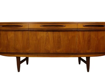 Mid Century Modern Teak 6ft bow front Credenza/Media Console