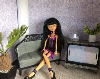 Upcycled Barbie Doll Furniture  - Grey Sofa / Couch - Suitable for Display or Diorama