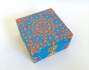 Ready to Ship - Hand Painted Wood Box - Mandala Design - One of a Kind
