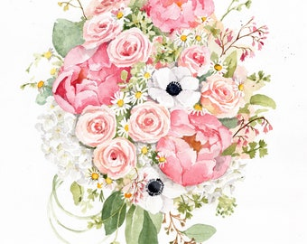 ORIGINAL Custom Bridal Bouquet Painting in Watercolor. Wedding anniversary gift. Botanical painting