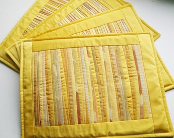 Set Of 4 Quilted Placemats Yellow Placemats Padded Placemats Table Mats  Dinner Placemats Kitchen Decor Textile