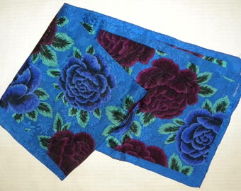 """1980s Albert Nippon Silk Scarf / Signature / Royal Blue FLORAL / ROSES / Luxe / 51"""" x 9.5"""""""