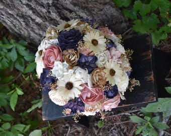 Wedding Bouquet Rustic Bouquet Navy Bouquet Champagne Bouquet Sola Bouquet Ivory Bouquet Rustic Bouquet Daisy Bouquet Sola Navy Pink Sola