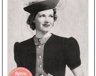 1930's Bolero Vintage Knitting Pattern - PDF Knitting Pattern - PDF Instant Download