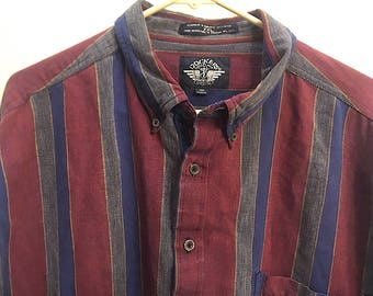 Vintage Docker's Men's Button Down Shirt XXL Striped, Vintage 100 Percent Cotton Long Sleeve Men's Shirt Gray Burgundy Navy & Gold Stripes