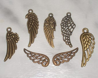 SPECIAL Antiqued Bronze Wing Charm Sets - 7 Pcs