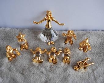 Disney Snow White and the seven dwarfs figurine set  , vintage Lencia Austria crystal gold figure set