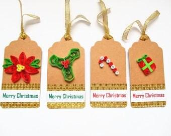 Christmas tags, gift tags, Xmas gift tags, quilled gift tags, Christmas gift tag, Christmas tag set, holiday gift tags, Merry Christmas tags